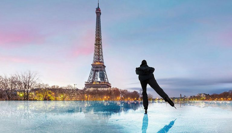 Trending thing to do in winter : Ice Skating facing Eiffel Tower Paris